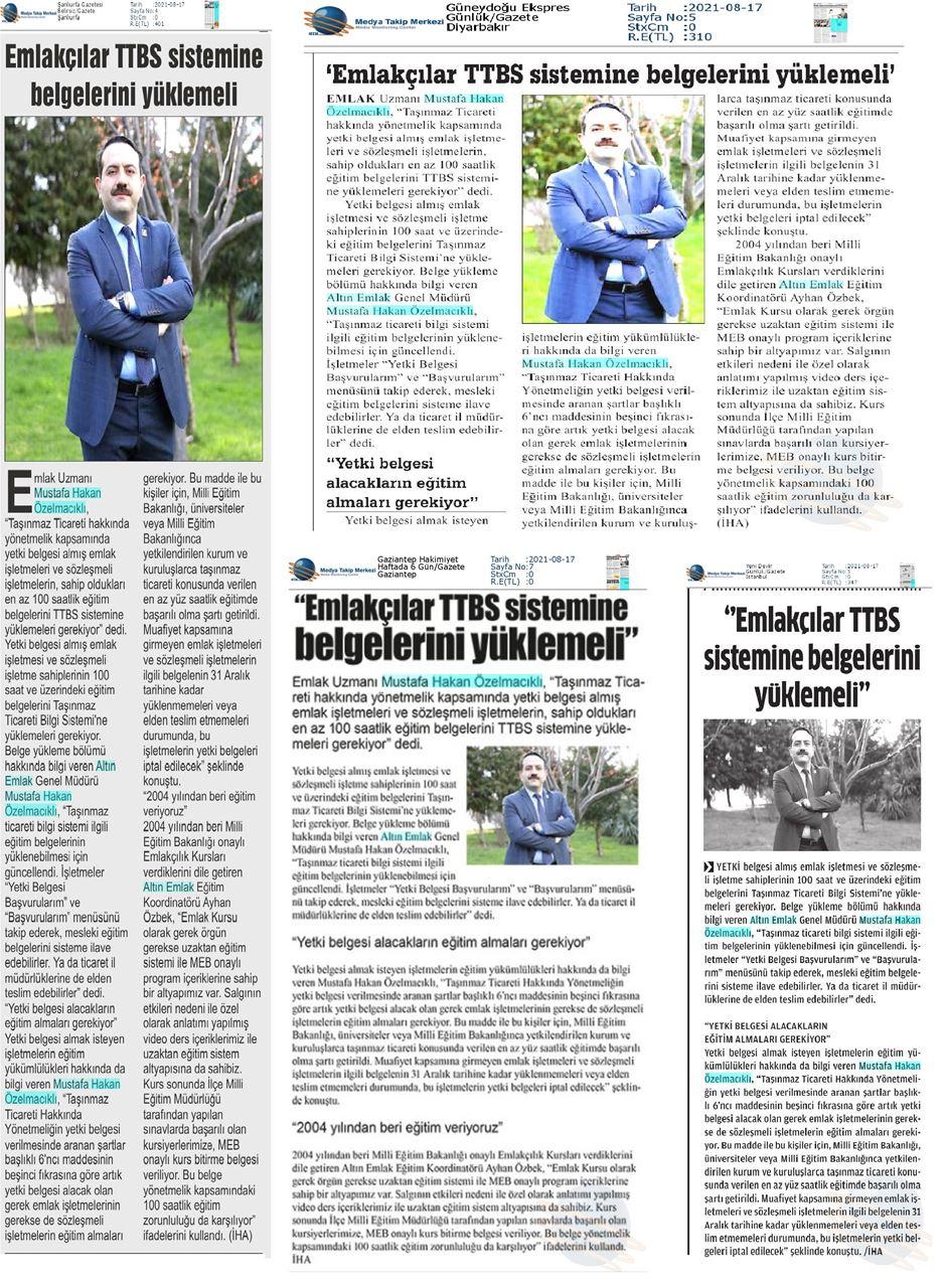 Emlakçılar TTBS Sitemine Belgelerini Yüklemeli