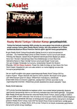 Realty World 1. Türkiye Broker Kampı Tamamlandı