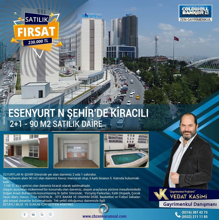 Esenyurt N-Şehir'de SATILIK 2+1 KİRACILI Daire