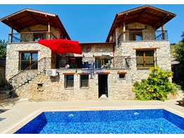 Furnished detached stone Villa for sale in Fethiye Kayakoy 4+1 300m²