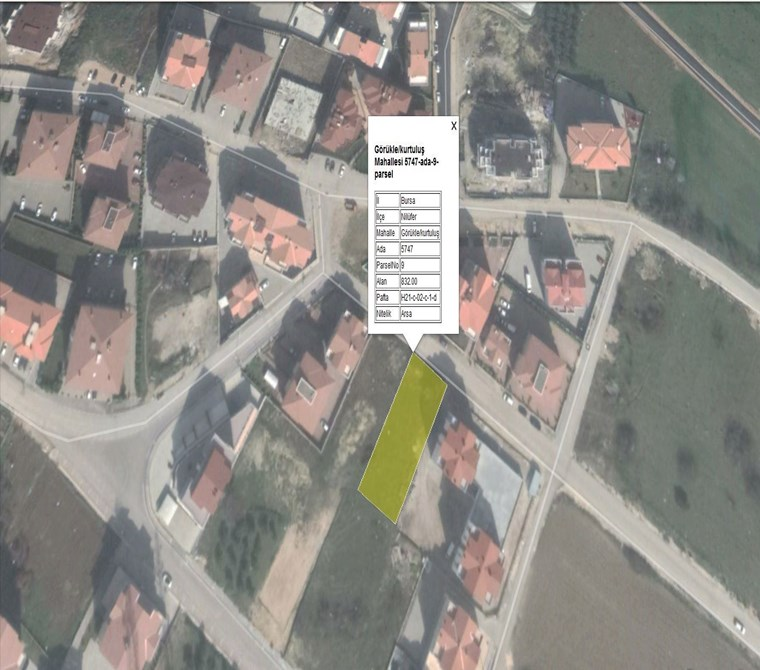 Land For Sale in Görükle 832 m2.