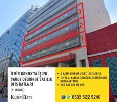 İZMİR KONAK'TA İŞLEK CADDE ÜZERİNDE SATILIK OFİS KATLARI P105877