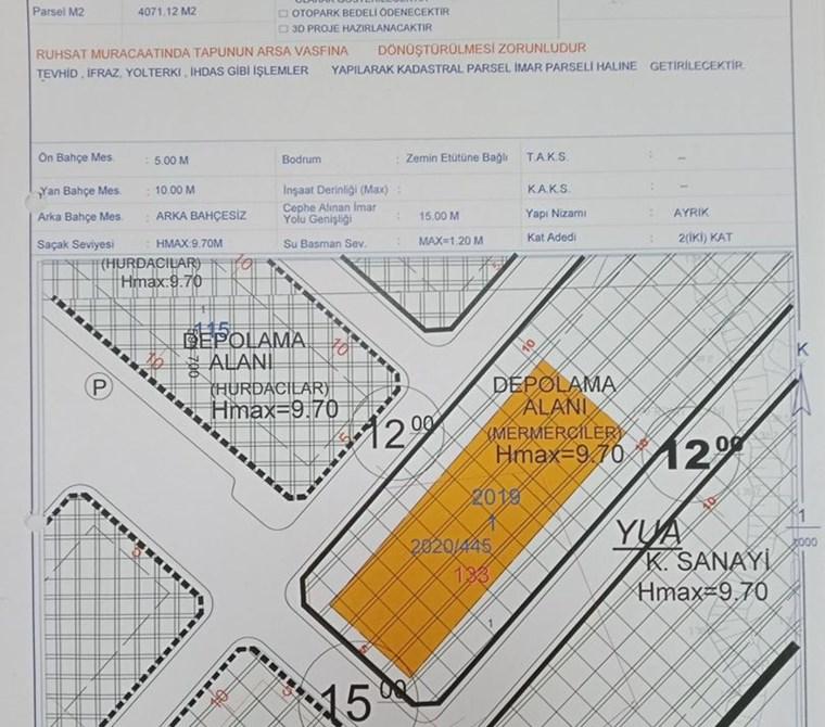 Düzce Kücük Sanayi Sitesinde boş kiralık 4071m2 sanayi arsası